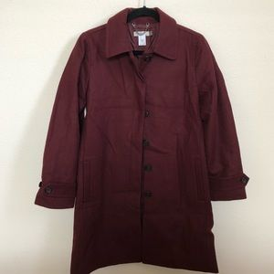 """JUST IN"" J. Crew wool coat in burgundy"